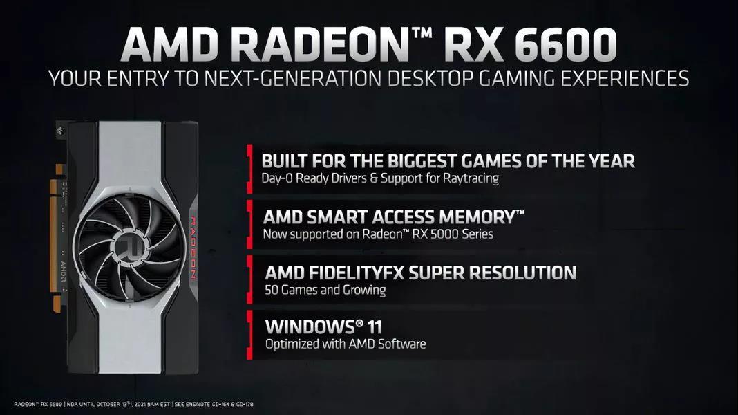 AMD Radeon RX 6600显卡发售,价格2499元起